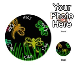 Neon dragonflies Playing Cards 54 (Round)
