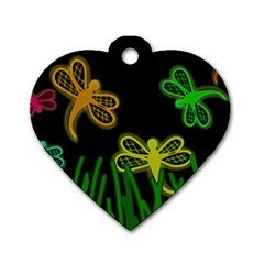 Neon dragonflies Dog Tag Heart (One Side)