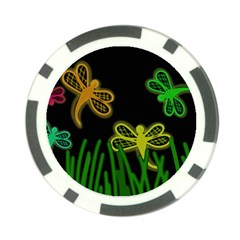 Neon dragonflies Poker Chip Card Guards (10 pack)
