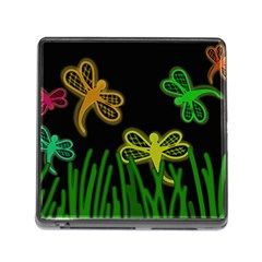 Neon dragonflies Memory Card Reader (Square)