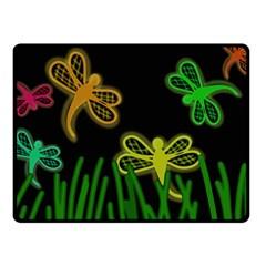 Neon dragonflies Fleece Blanket (Small)