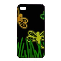Neon dragonflies Apple iPhone 4/4s Seamless Case (Black)