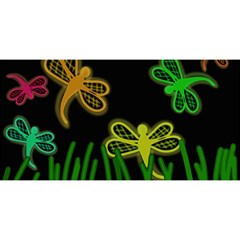 Neon dragonflies YOU ARE INVITED 3D Greeting Card (8x4)