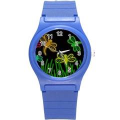 Neon dragonflies Round Plastic Sport Watch (S)