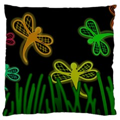 Neon dragonflies Large Cushion Case (Two Sides)