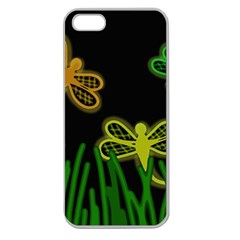 Neon dragonflies Apple Seamless iPhone 5 Case (Clear)