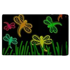 Neon dragonflies Apple iPad 2 Flip Case