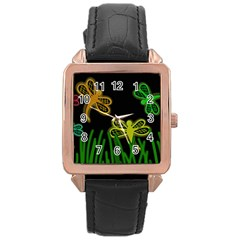 Neon dragonflies Rose Gold Leather Watch
