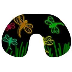 Neon dragonflies Travel Neck Pillows