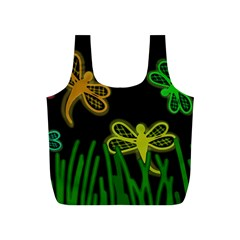 Neon dragonflies Full Print Recycle Bags (S)