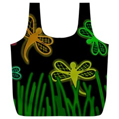 Neon dragonflies Full Print Recycle Bags (L)