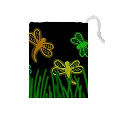 Neon dragonflies Drawstring Pouches (Medium)