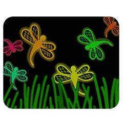 Neon dragonflies Double Sided Flano Blanket (Medium)