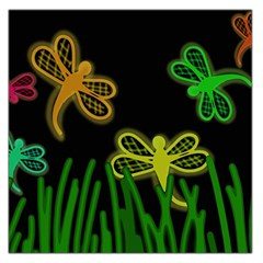 Neon dragonflies Large Satin Scarf (Square)