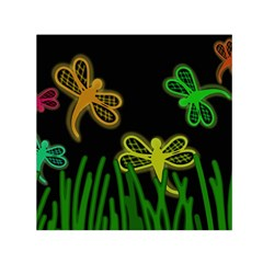 Neon dragonflies Small Satin Scarf (Square)