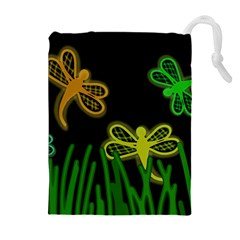 Neon dragonflies Drawstring Pouches (Extra Large)