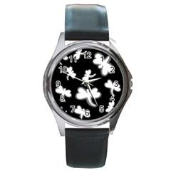 White dragonflies Round Metal Watch