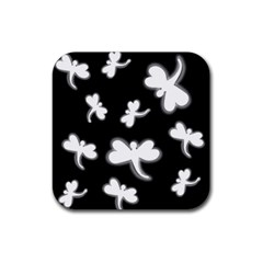 White dragonflies Rubber Square Coaster (4 pack)