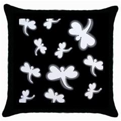 White dragonflies Throw Pillow Case (Black)