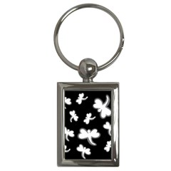 White dragonflies Key Chains (Rectangle)