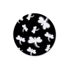White dragonflies Rubber Coaster (Round)