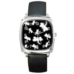 White dragonflies Square Metal Watch