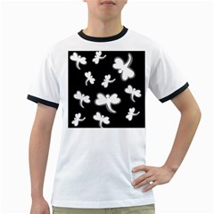 White dragonflies Ringer T-Shirts