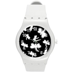 White dragonflies Round Plastic Sport Watch (M)