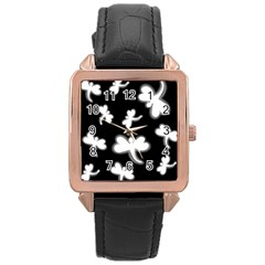 White dragonflies Rose Gold Leather Watch