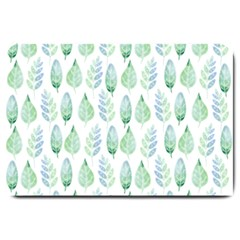 Green Watercolour Leaves Pattern Large Doormat