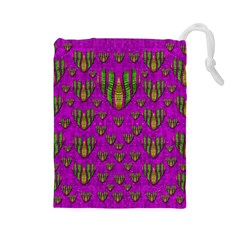 Love In Colors And Heart In Rainbows Drawstring Pouches (large)