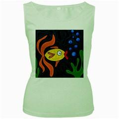 Yellow fish Women s Green Tank Top