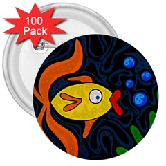 Yellow fish 3  Buttons (100 pack)