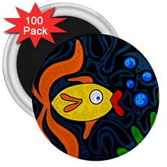Yellow fish 3  Magnets (100 pack)