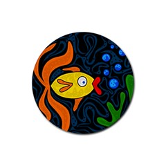 Yellow fish Rubber Round Coaster (4 pack)