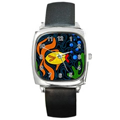 Yellow fish Square Metal Watch