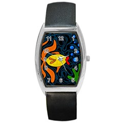 Yellow fish Barrel Style Metal Watch