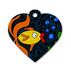 Yellow fish Dog Tag Heart (Two Sides)