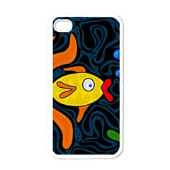 Yellow fish Apple iPhone 4 Case (White)