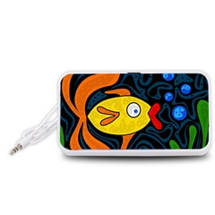 Yellow fish Portable Speaker (White)