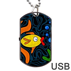 Yellow fish Dog Tag USB Flash (Two Sides)