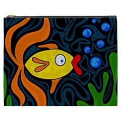 Yellow fish Cosmetic Bag (XXXL)