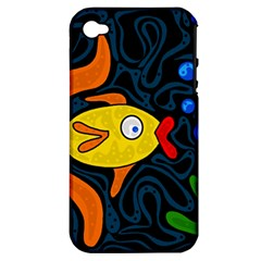 Yellow fish Apple iPhone 4/4S Hardshell Case (PC+Silicone)