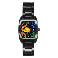 Yellow fish Stainless Steel Barrel Watch