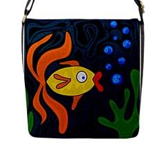 Yellow fish Flap Messenger Bag (L)