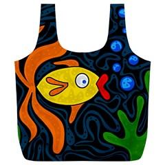 Yellow fish Full Print Recycle Bags (L)