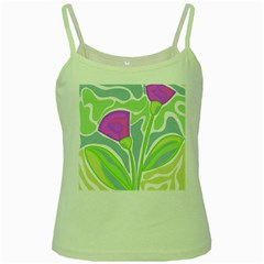 Purple flowers Green Spaghetti Tank
