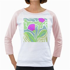 Purple flowers Girly Raglans