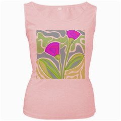 Purple flowers Women s Pink Tank Top