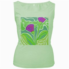 Purple flowers Women s Green Tank Top